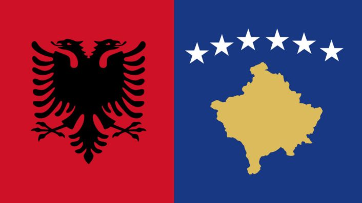 Flags of Kosova(Kosovo) and Albania