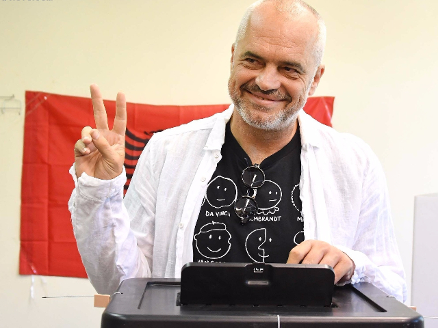 PM Edi Rama while voting on Sunday in Tirana. Photo: LSA/Gent Shkullaku