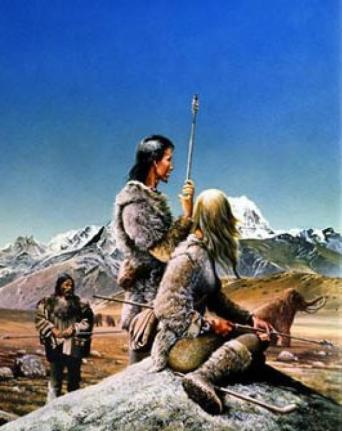 Mammoth hunters, illustrated by Geoff Taylor
