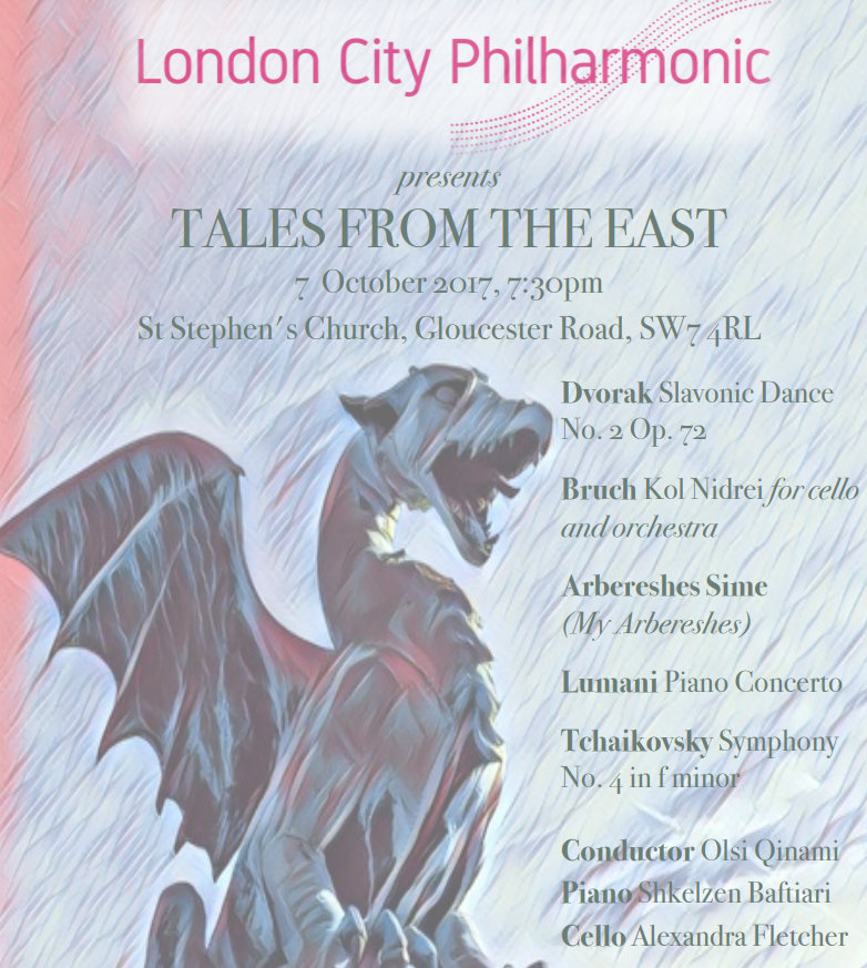 Tales from the East concert poster, London City Philharmonic, 7 October 2017