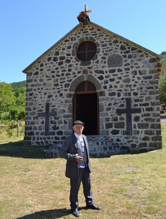 Ylli Rrapi and his church, Kryezi, Albania