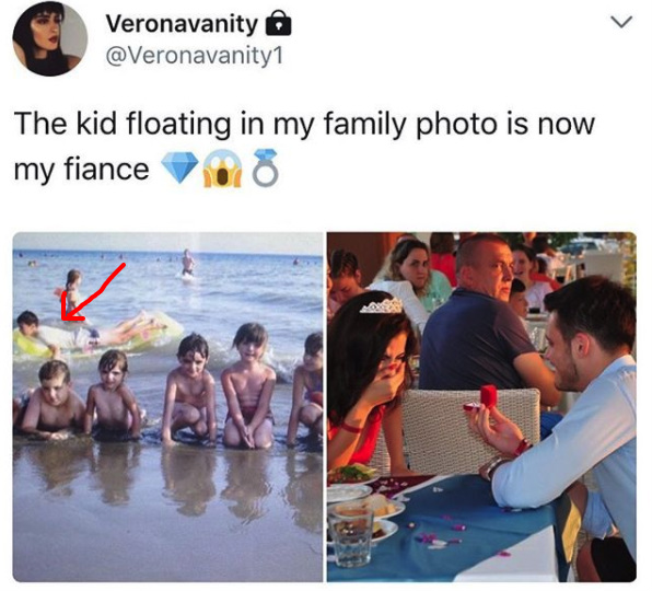 Man finds himself in fiancée's childhood beach photo