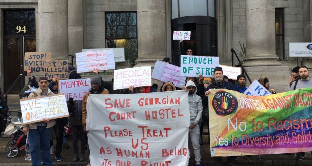Asylum seekers in Ireland protest closure of Dublin direct provision centre
