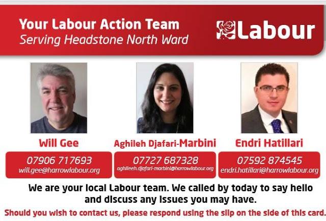 Endri Hatillari, Harrow, Headstone North ward, Labour Party