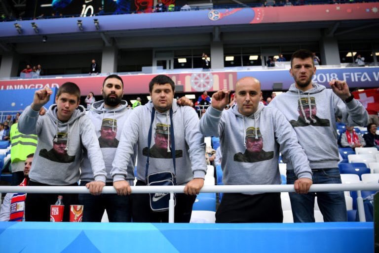 Serbia supporters displayed images of war criminal Ratko Mladic pictures on their jerseys CREDIT: GETTY IMAGES
