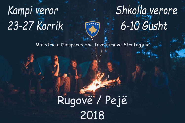 Pllakata per kampet verore te te rinjeve qe do te mbahet ne Kosove, vere 2018