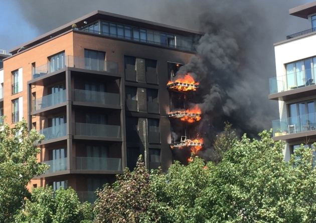 The block on fire in West Hampstead. Picture: Lucas Cumiskey