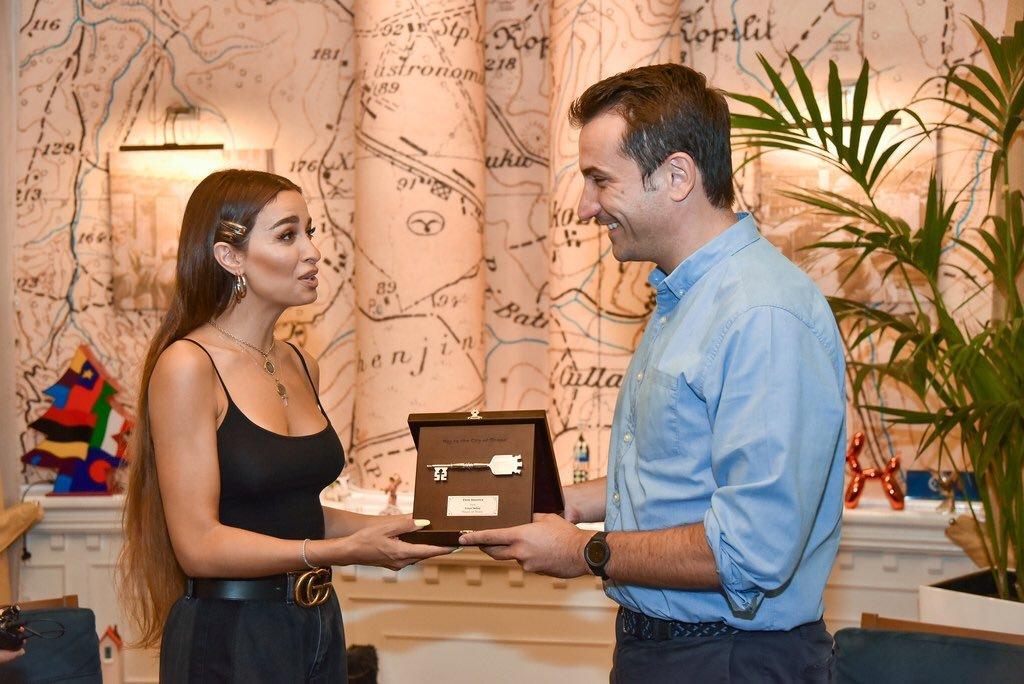 Eleni is given a Tirana key by its Mayor, Erion Veliaj