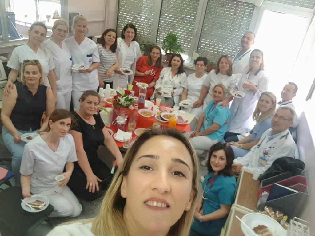 New Kosovan nurse celebrating start of the job at Prishtina Hospital (QKUK), May 2018. Credits: Facebook