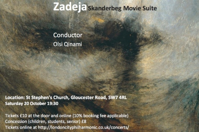 Part of Ephemeral Dreamscapes concert by London City Philharmonic poster, conducted by Olsi Qinami, 20 October 2018, 19:30