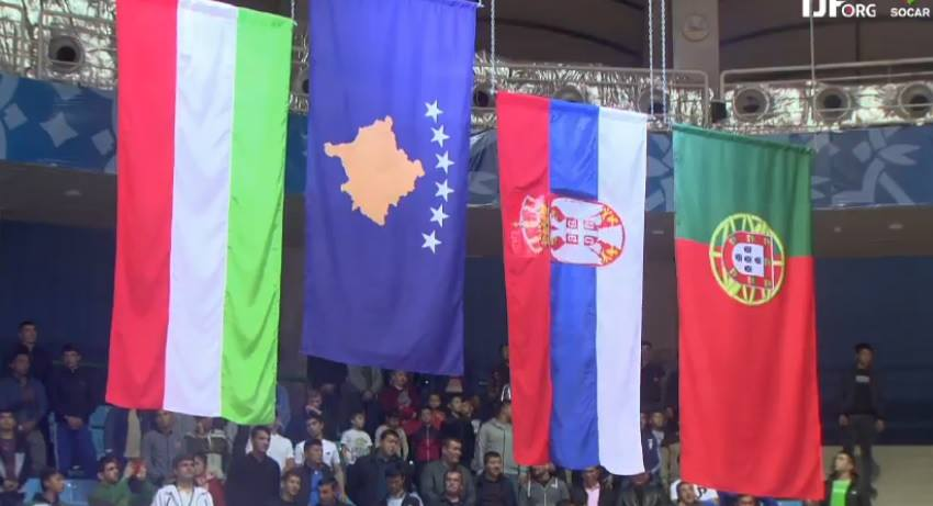 Kosovo flag raises today in Tashkent, marking Distria Krasniqi's gold medal win, after beating the former Olympic bronze medallist Eva Csernoviczki of Hungary. Portugal's Joana Diogo and Serbia's Milica Nikolic were awarded the bronze medals.