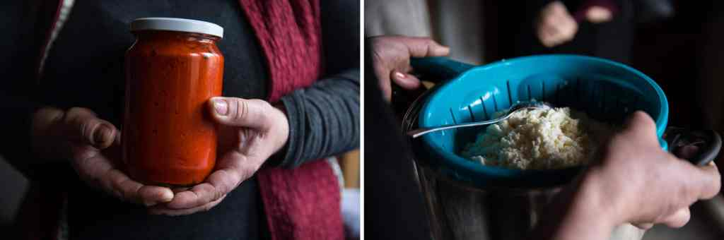 Left: M., a survivor of sexual violence during the Kosovo war, holds a jar of red pepper spread that she prepared at her home to sell at a new artisanal food shop in Gjakova, in western Kosovo. Working with food is a form of therapy for M. Right: B., also a survivor, prepares fresh clotted cream from her home in a village in western Kosovo. VALERIE PLESCH / FOR NPR