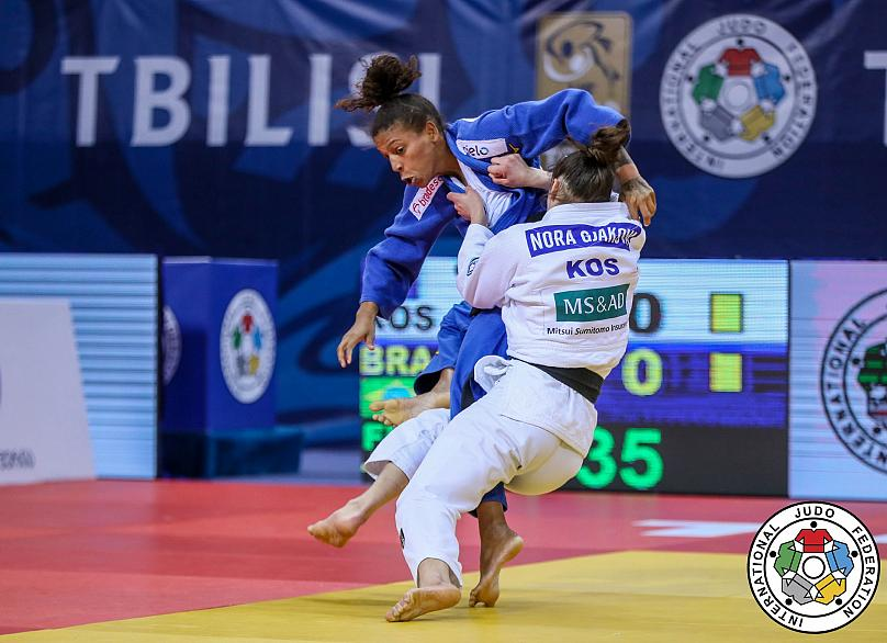 Nora Gjakova of Kosovo celebrates her fifth Grand Prix gold medal