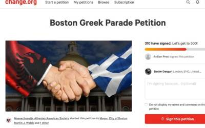 Massachusetts Albanian Americans organise an online petition about Boston Greek Parade