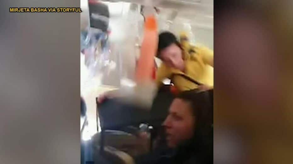 Horrifying: Watch how Prishtina to Basel flight turbulence throws flight attendant and drink cart into cabin ceiling (Video)