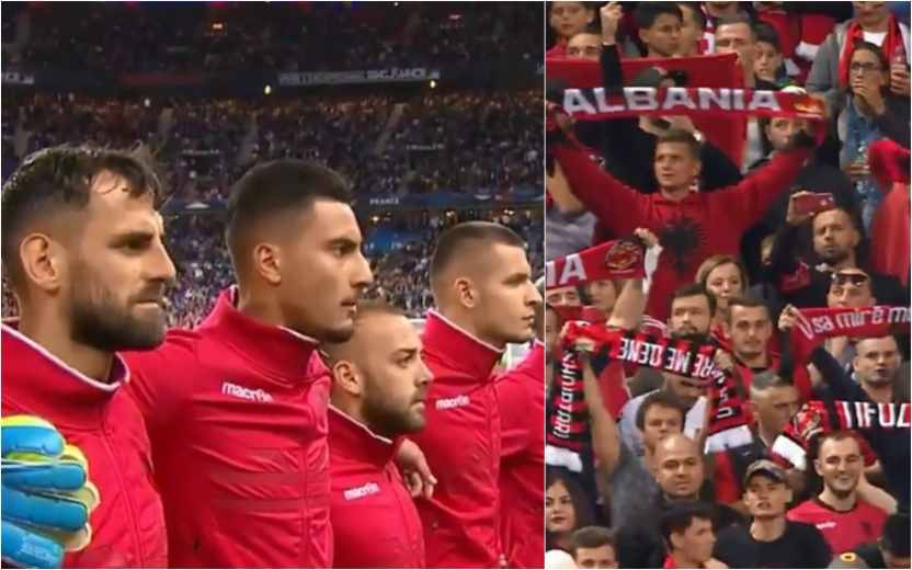 Albania's players looked puzzled as they listened to Andorra's national anthem (Virgin Media Sport)