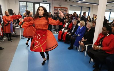 Duchess of Cornwall was treated to a performance by an Albanian dance routine as part of the Shpresa Programme