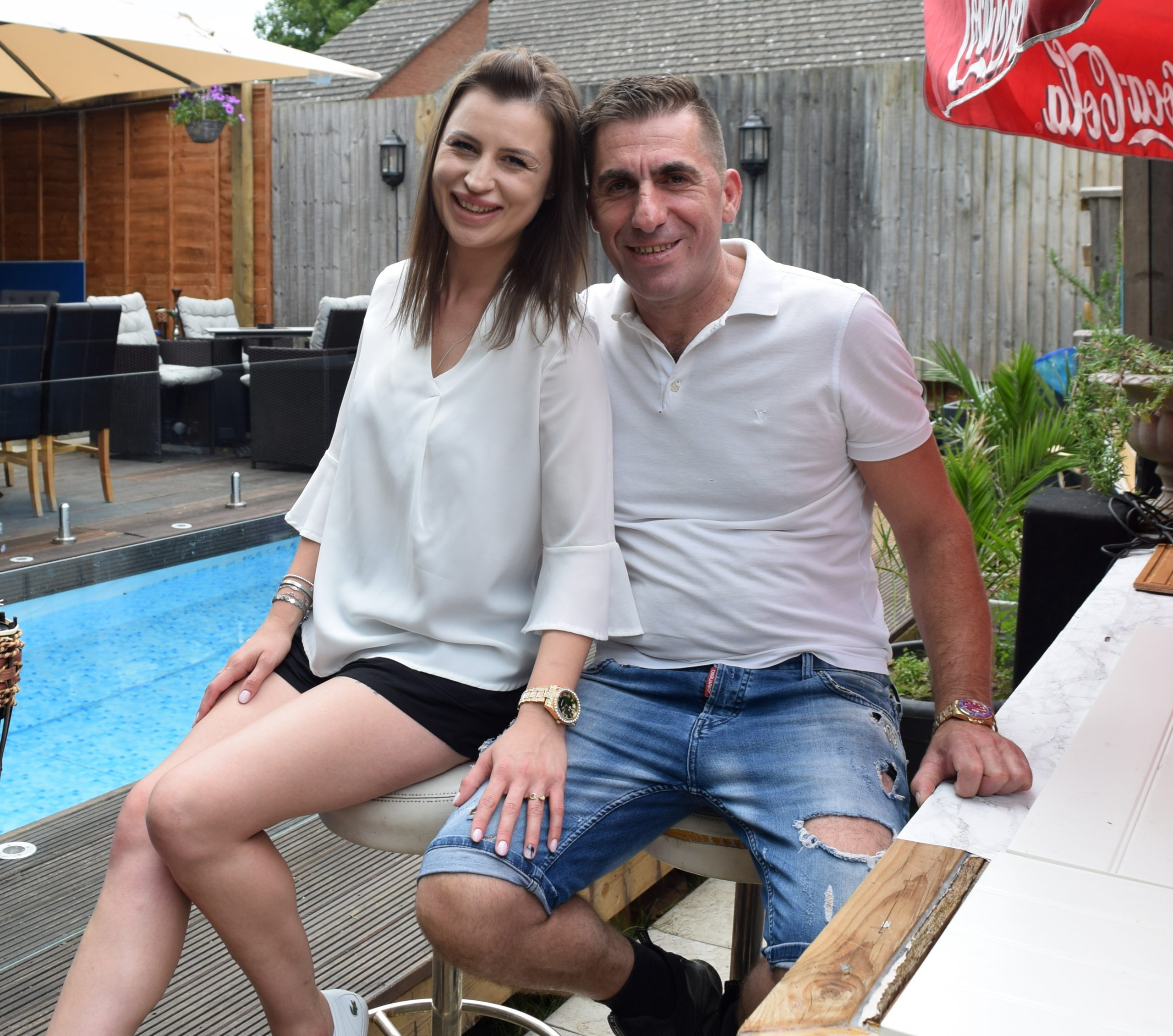 An Albanian pub landlord turns dreary beer garden into a Spanish resort with hot tub, terrace and pool costing just £100 off Gumtree