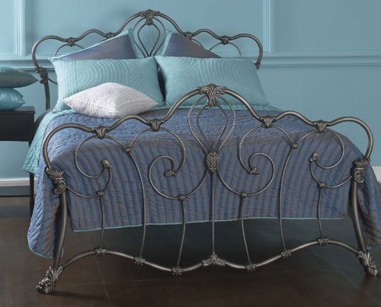 OBC Athalone 6ft Super Kingsize Silver Patina Metal Bed