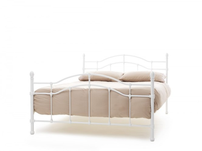 Serene Paris 4ft Small Double White Gloss Metal Bed Frame