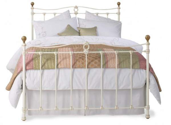 OBC Tulsk 4ft 6 Double Glossy Ivory Metal Bed Frame by ...