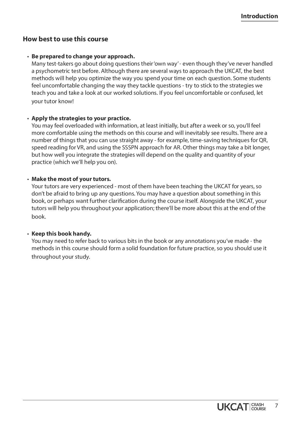 UKCAT Crash Course Handbook page 6
