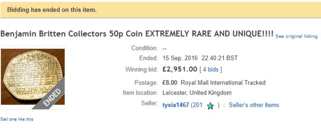 Benjamin Britten 50p ebay