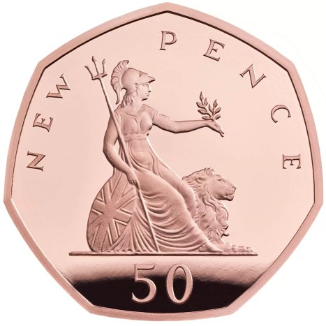 2019 Britannia New Pence 50p Gold Proof