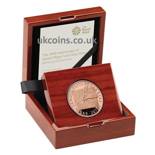 Samuel Pepys 2019 UK £2 Gold Proof Coin