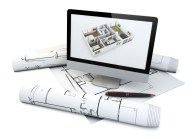 actual flat design concept: computer with a house plan on the screen over plots and architecture draws isolated on white