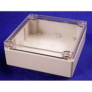 Hammond 1554R2GYCL Watertight PC Enclosure Clear Lid 160 x 160 x 6...