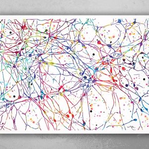 Dopaminergic Neurons Watercolor Print Dopamine System Science Gift Neurology Medical Art Wall Office Laboratory Clinic Decor Doctor-1419