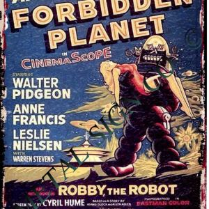 Forbidden Planet Classic Sci Fi Movie Metal Wall Sign, Office Shop Film Art Pub, Games Room, Shop, Cafe Film, Home Cinema Garage Robby Robot