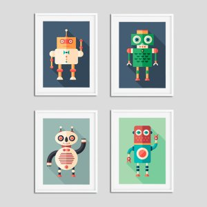 Robot Nursery Prints Boys Bedroom Pictures Baby Room Home Decor Ideas Mix & Match/3 For 2