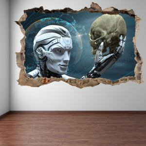 Robot Skull Futuristic Wall Decal Sticker Mural Print Art Home Office Decor El22