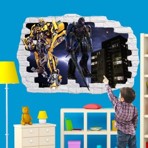 Superhero Robot Transformer City Ruins Wall Sticker Art Poster Mural Transfer Decal Print Boys Room Home Nursery Office Shop Decor Id358