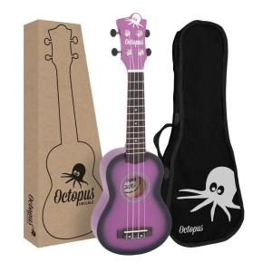Octopus matt burst series soprano ukulele Purple burst with box