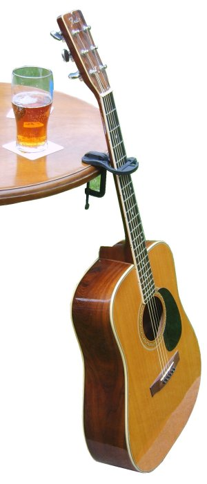 Pub Table with Guitar propped thin