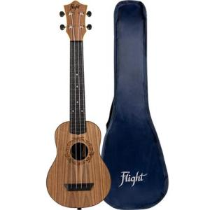 Flight: TUSL50 Long Neck Travel Ukulele – Walnut With Cover
