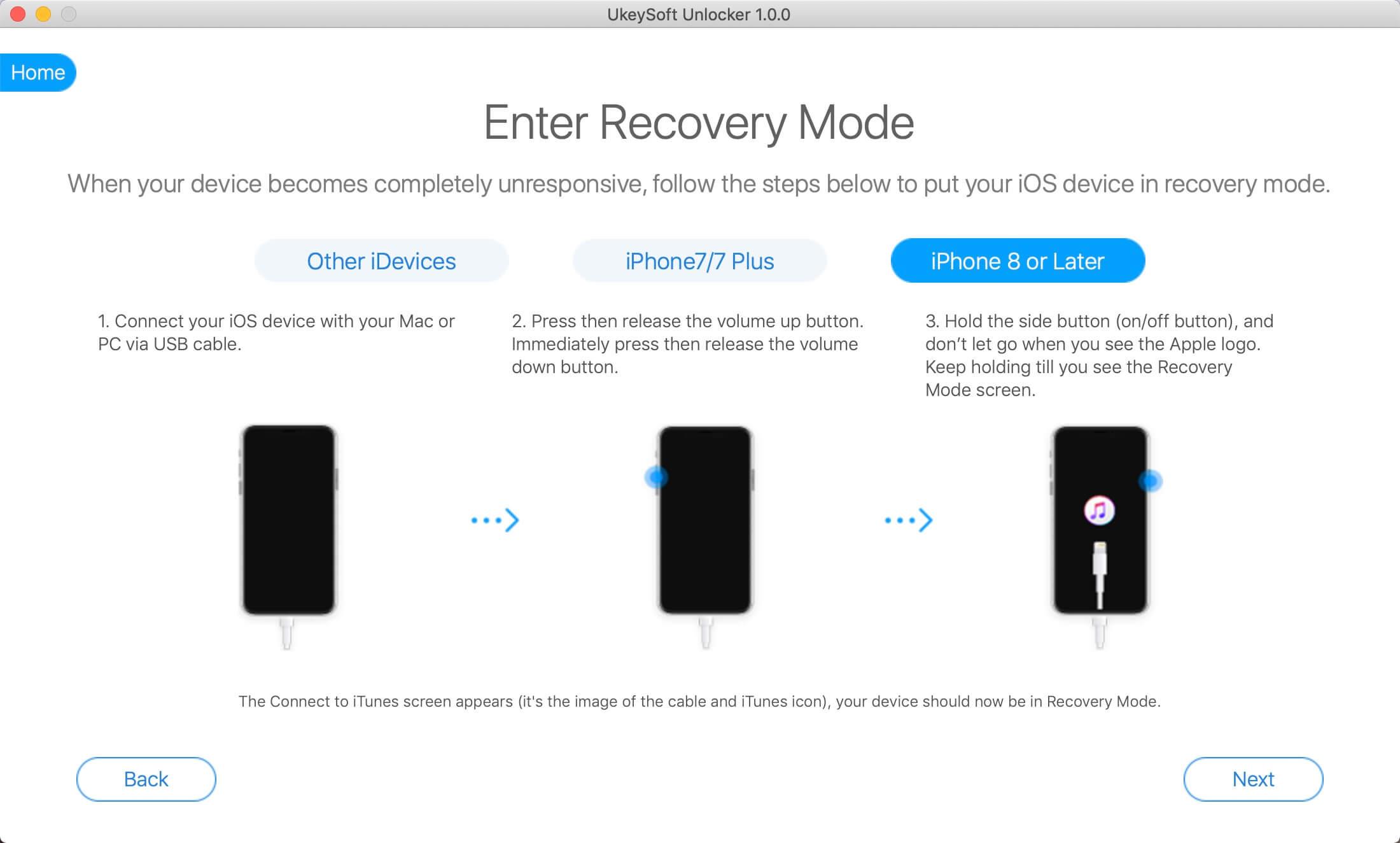 Az iPhone lefordítása a mód helyreállításához