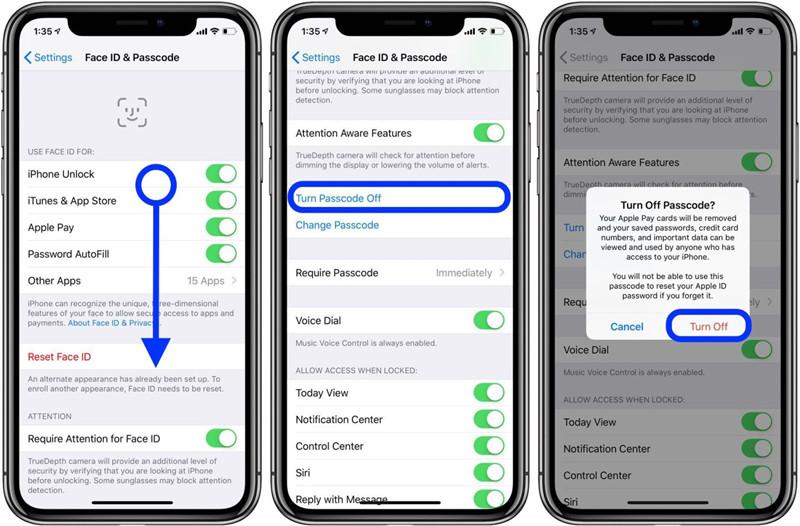 Az iPhone jelszó letiltása