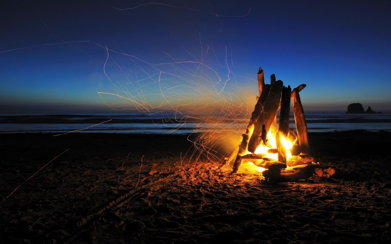 fire piston beach camp fire