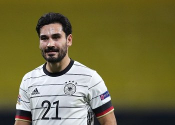 Germany's midfielder Ilkay Gundogan reacts during the UEFA Nations League Group 4 football match of Germany vs Ukraine on November 14, 2020 at the Red Bull Arena stadium in Leipzig, eastern Germany. (Photo by Ronny Hartmann / AFP)