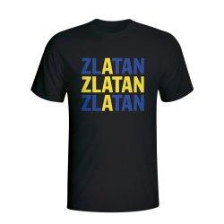 Zlatan Ibrahimovic Sweden Player Flag T-shirt (black)