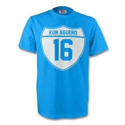 Sergio Aguero Man City Crest Tee (sky Blue)