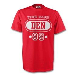 Denmark Den T-shirt (red) + Your Name (kids)