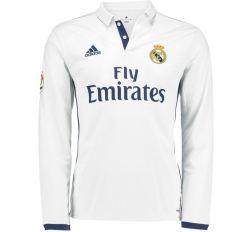 2016-2017 Real Madrid Adidas Home Long Sleeve Shirt (Kids)
