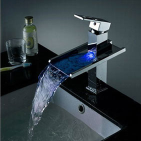 Contemporary Color Changing LED Pop Up Waste Waterfall