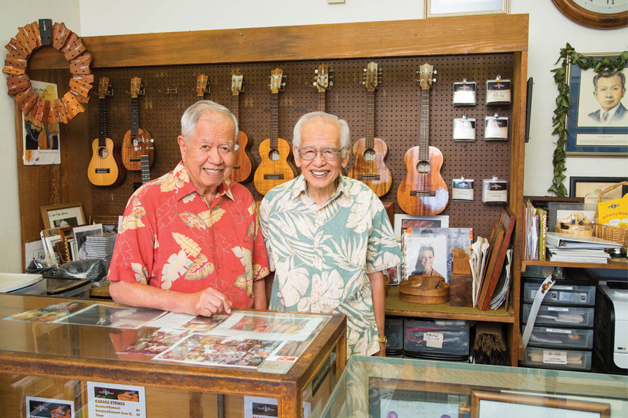 Samuel Kamaka Jr., left, and Frederick Kamaka Sr.