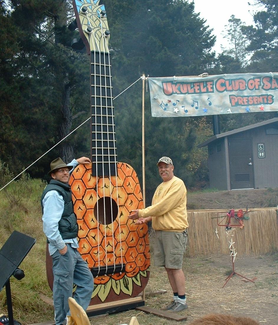 Ukulele Club of Santa Cruz with a 20-foot-tall pineapple uke